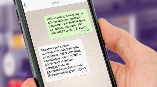 Whatsapp met de klantenservice van Welzorg Nederland